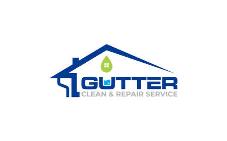 Illustration vector graphic of gutter installation and repair service logo design template