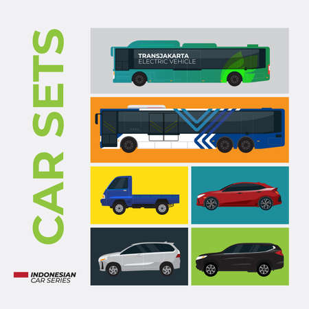 6 sets indonesian car flat vector illustration Stock Illustratie