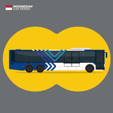 Indonesian Transjakarta Bus Blue Gasoline Flat Vector