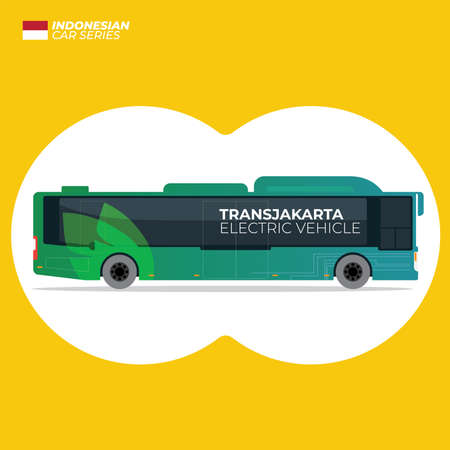 Indonesian Transjakarta Electric Bus Flat Vector