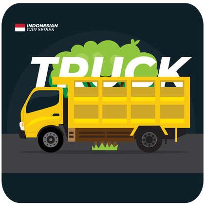 Indonesian Car Series - Yellow Truck Flat Vector