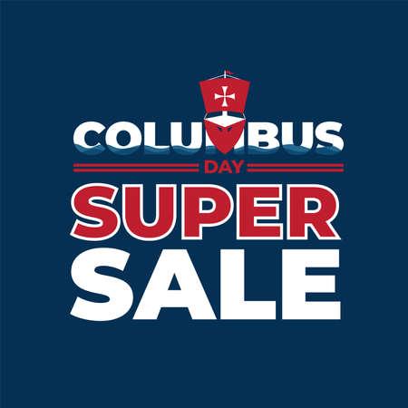 Columbus Day Super Sale Poster Illustration