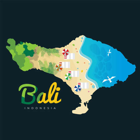Bali Beach Island Vector Illustration Stockfoto - 128754898