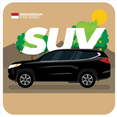 Indonesian Car Series: Black SUV Vector Illustration