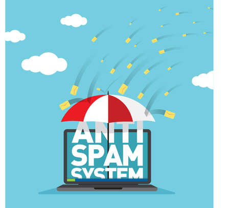 Anti Spam System Protection for Business Email Vector Illustration