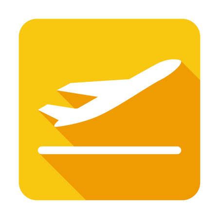 Flight Sign Icon With Take Off Plane Long Shadow Vector