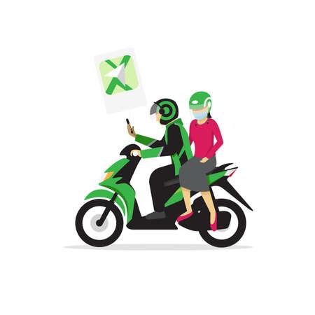 Transport motocyklowy w kolorze zielonym w Indonezji, nazywa się ojek online Ilustracje wektorowe