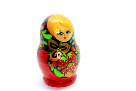 A photo of a Russian wooden statue Babushka is usually famous as a by handicraft
