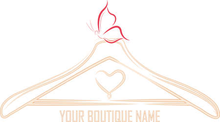 The symbol for boutique of a hanger-like look and with a butterfly ornament as well as a heart symbol, perfect for women's clothing stores due to the soft pink nuances