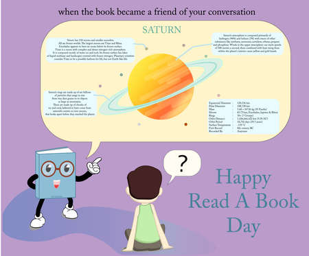 vector from an animated book explaining facts about the planet Saturn, suitable for use as an image for celebrating world book reading day
