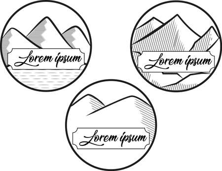 simple line vector in the shape of a mountain with a shady shade and a lake underneath, suitable for use as a logo for outdoor activities that blends with nature