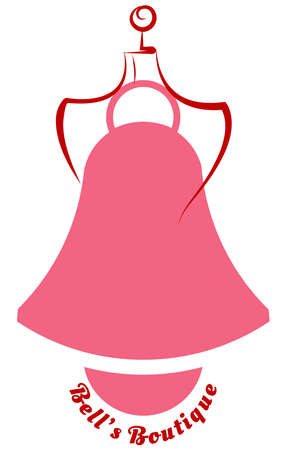vector of a sketch of the mannequin and the bell as a boutique logo bearing the boutique bell name
