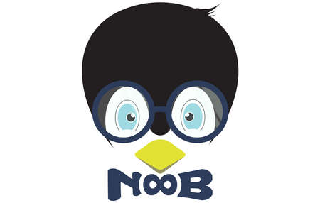 a cute bespectacled penguin head logo with a bow tie that reads NOOB