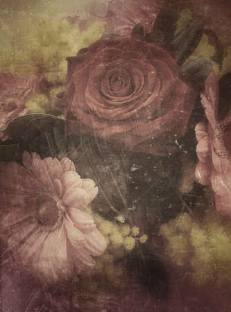 Roses, gerbera and mimosa flowers, vintage background, grunge filter Reklamní fotografie - 44325951
