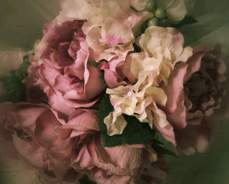 Vintage bouquet of fabric roses background, stylized flowers and filtered to Seem an old, victorian, still life painting Reklamní fotografie - 44325952