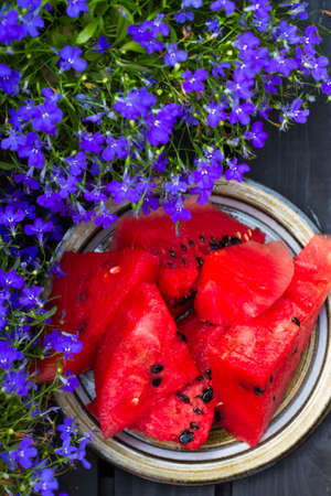 Fresh slices of watermelon. photo