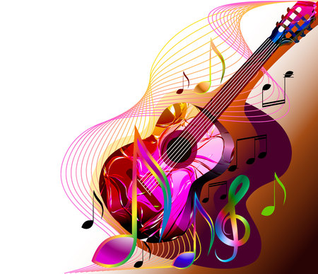 Colorful abstract music background with guitar, musical notes and treble clef. Vector Illustration