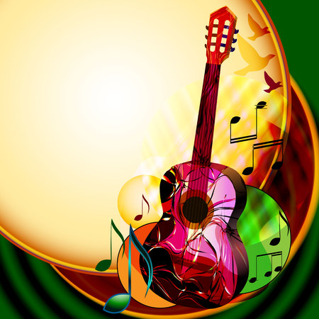 Colorful abstract music background with guitar and musical notes.