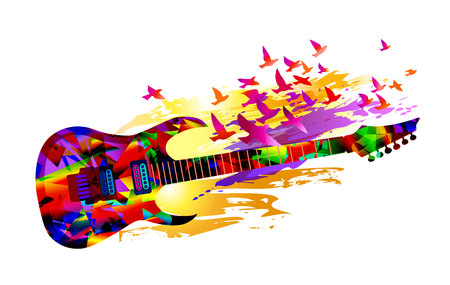 Colorful music instruments background design with guitar and flying birds