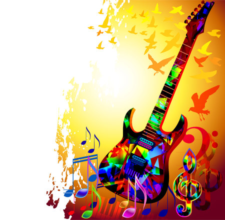 Colorful music instruments background design with guitar, piano, treble clef and music notes