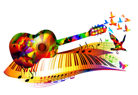 Colorful music instruments design background with guitar, piano, birds and music notes Stock Illustratie