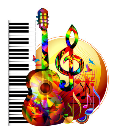 Colorful music instruments design background with guitar, piano, treble clef and music notes