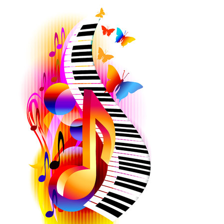 Colorful 3d music notes with piano keyboard and butterfly. Music background for poster, brochure, banner, flyer, concert, music festival