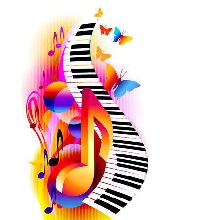 Coloridas notas musicales en 3D con teclado de piano y mariposa. Fondo de música para póster, folleto, pancarta, folleto, concierto, festival de música Ilustración de vector