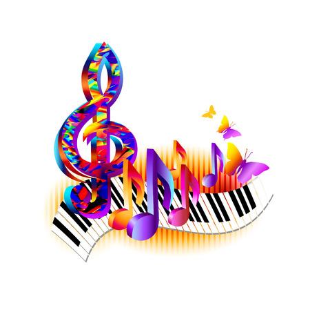Kleurrijke 3d muzieknota's met pianotoetsenbord, g-sleutel en vlinder. Muziek achtergrond voor poster, brochure, banner, flyer, concert, muziekfestival