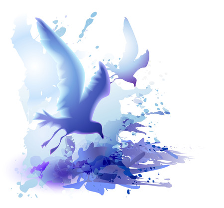 Watercolor background with flying birds, seagulls and ocean wavesi