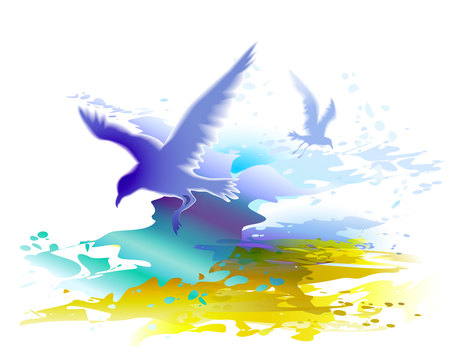 Watercolor background with flying birds, seagulls and ocean waves