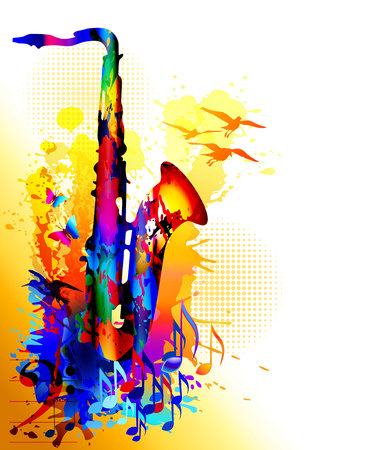 Music background with saxophone, musical notes and flying birds