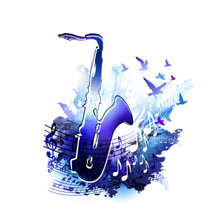 Saxophone design. Digital watercolor painting. Music background for poster, brochure, banner, flyer, concert, music festival 스톡 콘텐츠