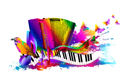 Music background with accordion. Illustration
