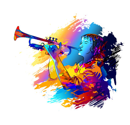 Trumpet player in Colorful vector illustration.