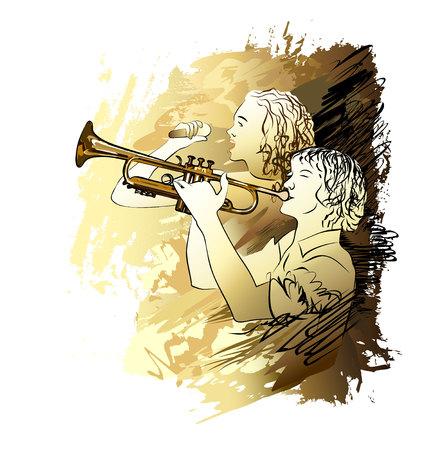 Muzikantjongen en meisje die vectorillustratie zingen.