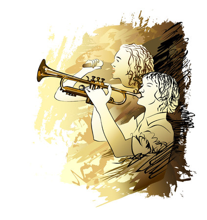 Musician boy and girl singing vector illustration.