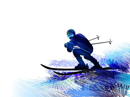 People skiing illustration Archivio Fotografico