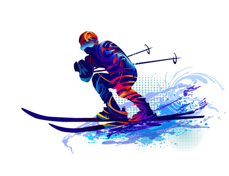 People skiing. Vector illustration