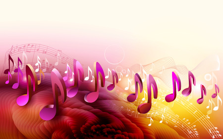 Abstracte bladmuziek ontwerp achtergrond met 3d muzieknoten