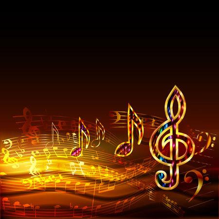 Donkere muziekachtergrond met gouden muzieknoten en g-sleutel Stock Illustratie
