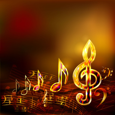 Dark music background with golden musical notes and treble clef