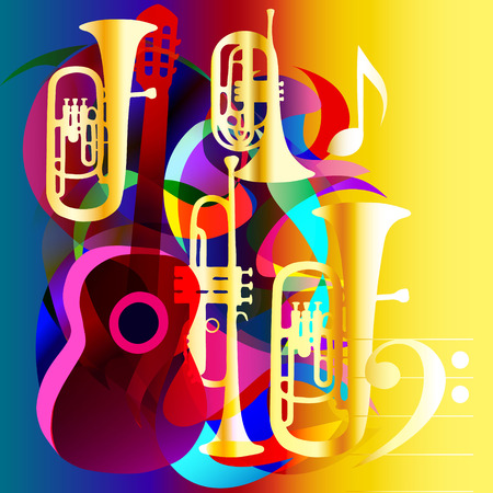 Abstract music background with guitar and wind instruments