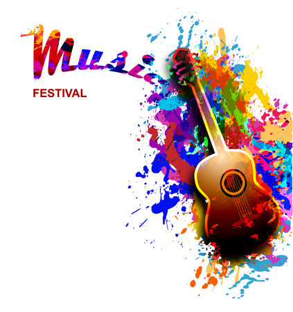 Colourful music festival background, flyer with guitar