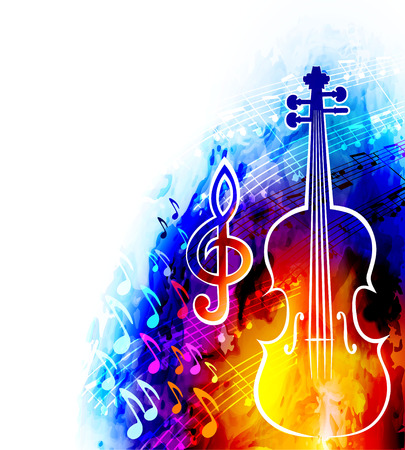 Classical music background with violin and musical notes