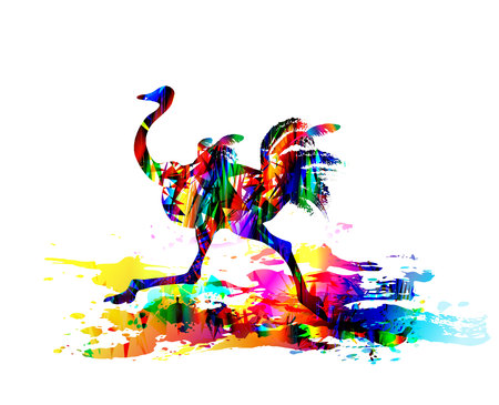 Ostrich running. Digital painting. Vector illustration Ilustracja