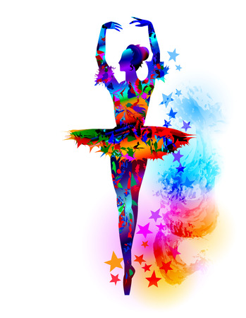 Colourful ballet dancer, vector illustration