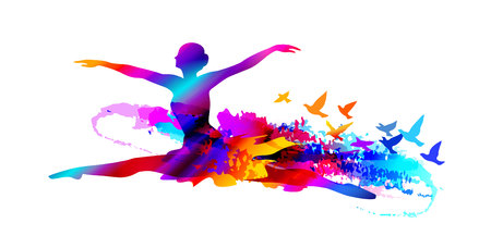 Colourful ballet dancer, digital painting with flying birds Stock Illustratie