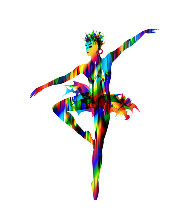 Colourful  nightclub ballet dancer, digital painting