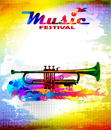 Music festival flyer. Colourful illustration